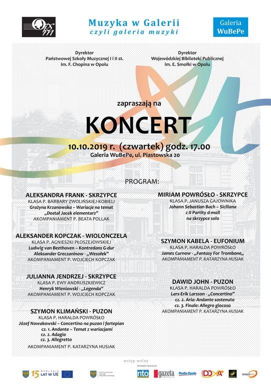 Muzyka w Galerii plakat pazdziernik